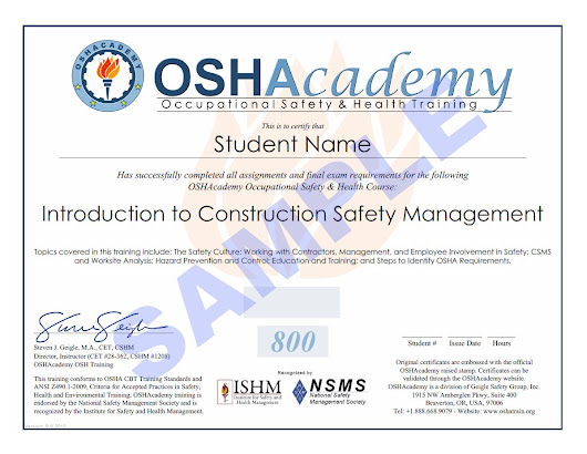 new online course- introduction to construction safety management ...