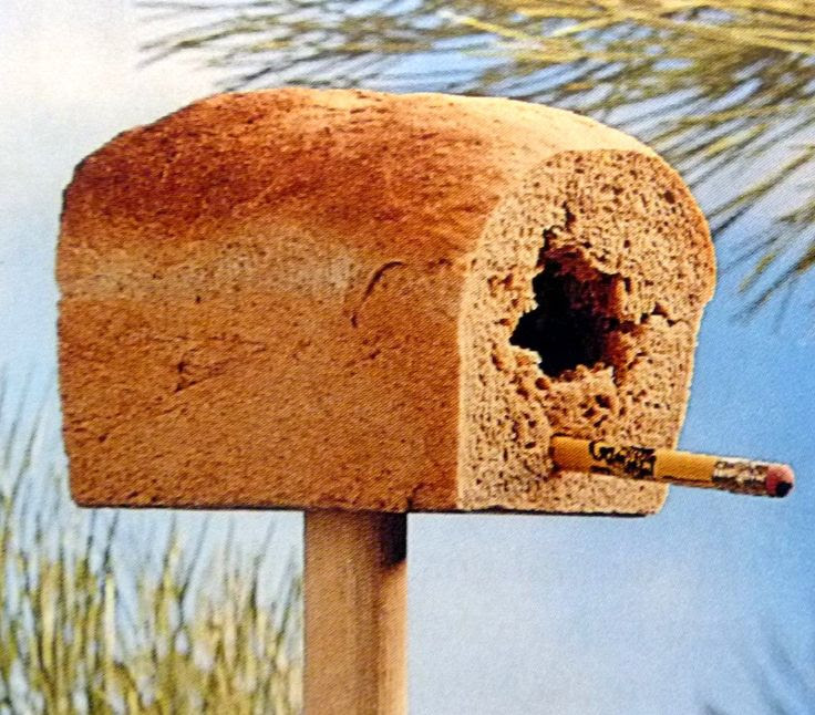 Stale loaf of bread bird house.