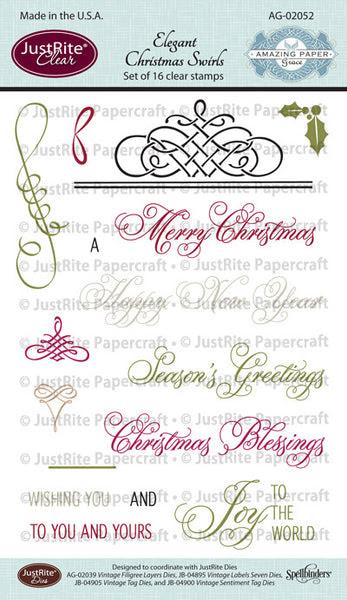 Elegant Christmas Swirls Clear Stamps