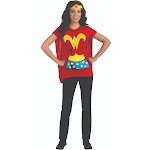 Rubie S Costume Co Inc Rubies 212059 Wonder Woman T-Shirt Adult Costume Kit - Blue-Red-Yellow - Large