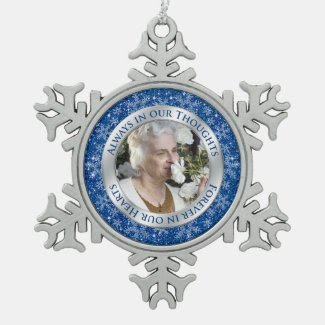 Memorial Photo Christmas Blue Silver Ornament