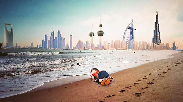 הפעוט על רקע צירוף תמונה של מדינות המפרץ ()