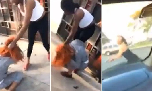 Moment mother attacks and fires shots at woman