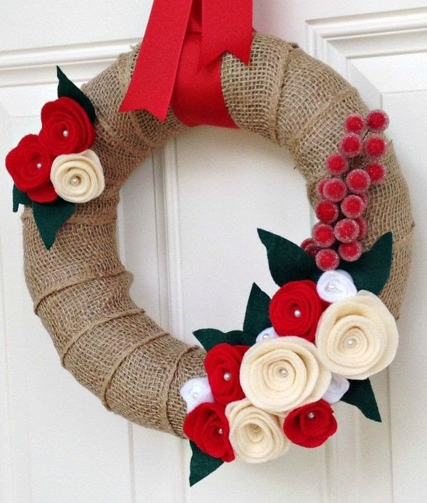 DIY Christmas Burlap Wreath, 2013 Holiday Christmas Wreath, Christmas Door Decoration