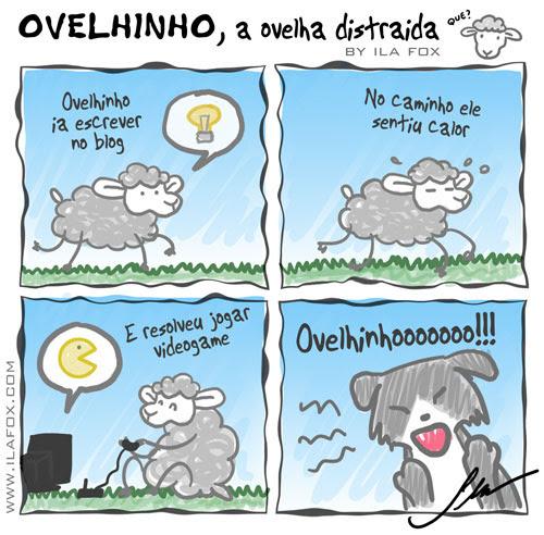 carneiro ovelha, ovelhinho a ovelha distraída joga videogame - quadrinhos by ila fox