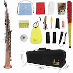 Lade Wss-899 Professional Red Bronze Straight BB Soprano Saxophone Sax Kits Wind Instrument Abalone Shell Key Carve Pattern