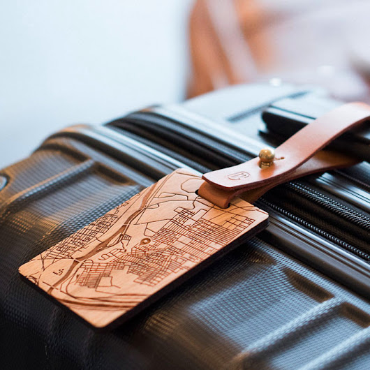 Create this one-of-a-kind wood and leather map tag - Ideabook.com