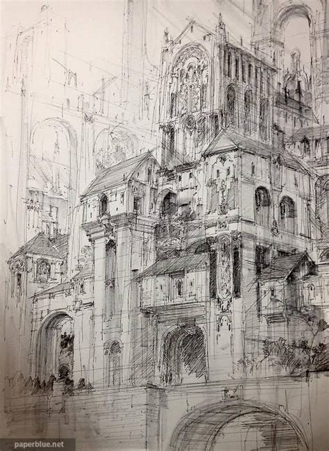 fantasy style castle sketch jae cheol park paperblue