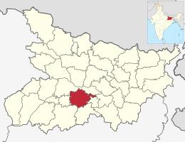 Ubicación del distrito de Nalanda en Bihar.