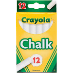 Crayola Nontoxic and Non-Scratching Easy Glide White Chalk Box, For Ages 3 years and Above, 12 Sticks