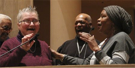 Former political prisoner Atty. Lynne Stewart with Ralph Poynter and Dolores Cox at a fundraiser for Stewart on Feb. 14, 2014. Stewart was recently released from federal prison. by Pan-African News Wire File Photos
