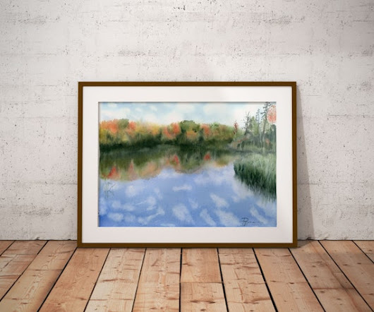 Watercolor lake painting Original art Water Reflection Clouds painting Forest Landscape watercolour art gift idea Landscape wall art decor