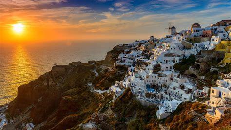 santorini island  greece aegean sea sunset desktop