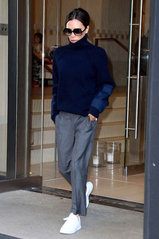 Le Fashion Blog Celebrity Style Victoria Beckham Oversized Turtleneck Sweater Grey Trousers White Sneakers Via Vogue