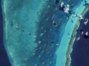 Grande Buraco Azul em Belize visto pela Nasa (Foto: Nasa/Divulgação)