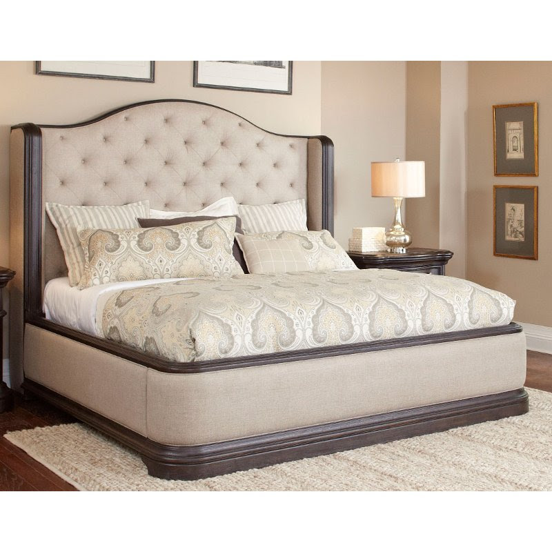Dark Oak Wingback Upholstered Queen Bed Ravena Rc Willey