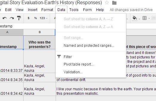 "On the spreadsheet of responses, go to the data tab then ""filter"""