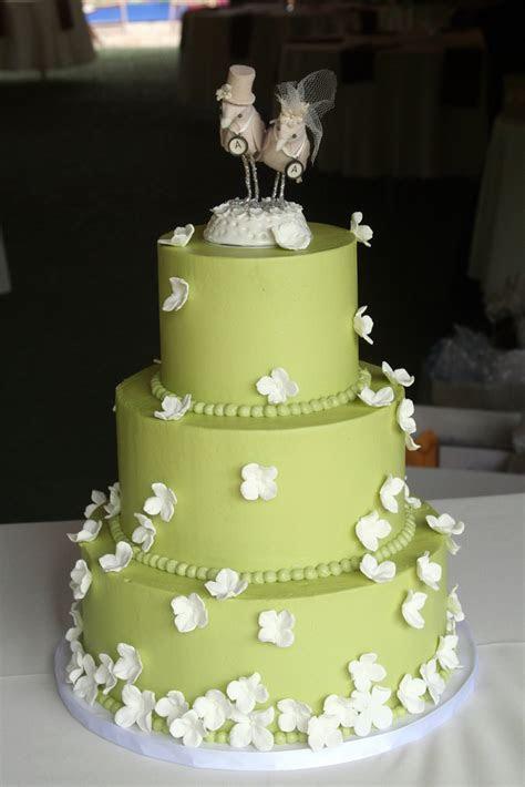 Elegant Green Wedding Cake with Custom Topper   A Wedding