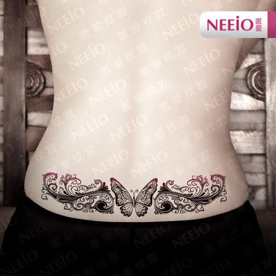 Gran Tatuaje Temporal Mariposa Flor Vid Maquillaje Pegatinas Para La