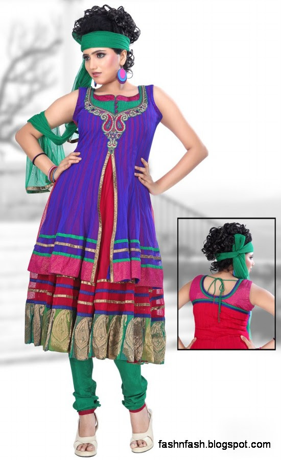 Anarkali Fancy Pishwas Frocks-Anarkali Double Shirt Style Frock New Fashion Dress Designs 2013-5