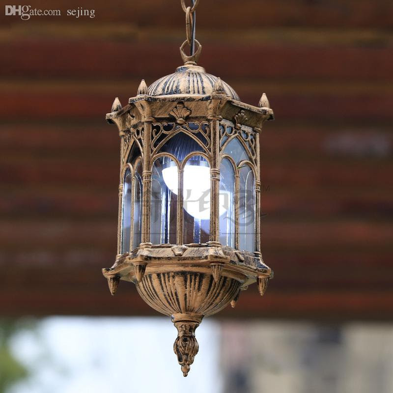 Wholesale European Vintage Outdoor Porch Pendant Lights Courtyard Corridor Hanging Lighting