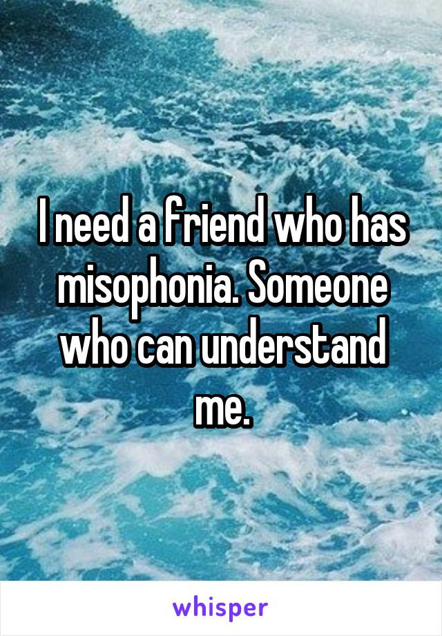 I Need A Friend Who Has Misophonia Someone Who Can Understand Me