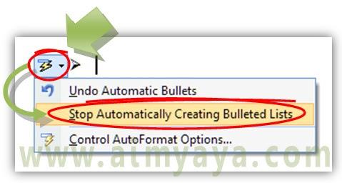 Gambar: Cara menghentikan/stop bullet otomatis di microsoft word