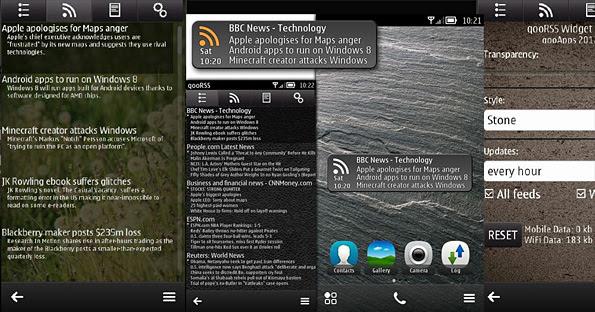 qooRSS Widget untuk smartphone Symbian ^ 3 di Nokia Store