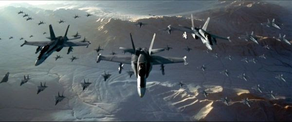 A fleet of F/A-18 Hornets and other combat aircraft are ready to attack an alien destroyer in INDEPENDENCE DAY.