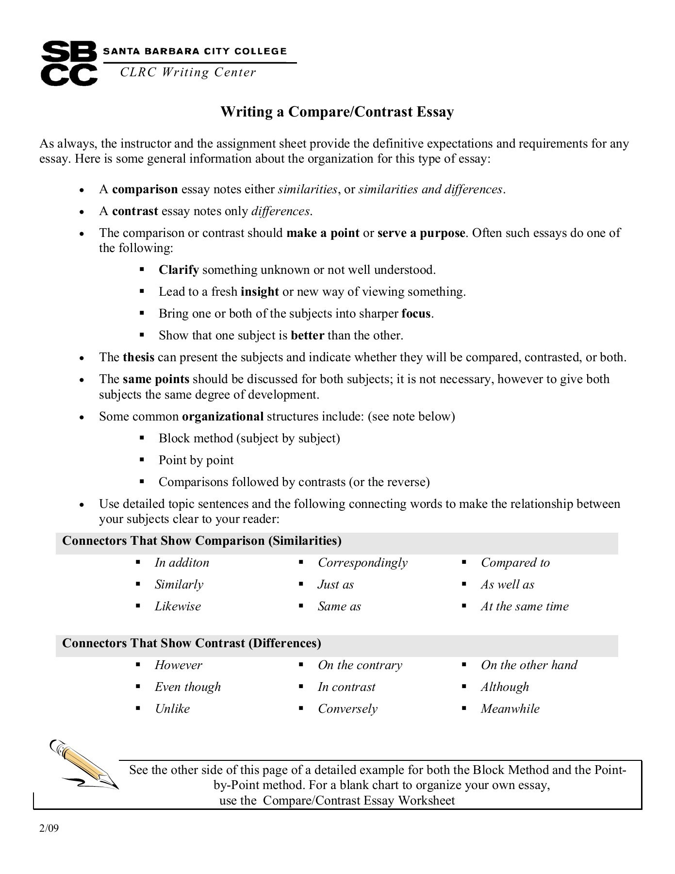 how to write comparison contrast essay