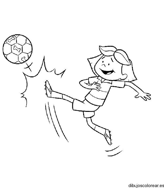 Dibujo De Nina Jugando Futbol