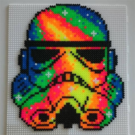 neon stormtrooper star wars hama beads  hamatiija