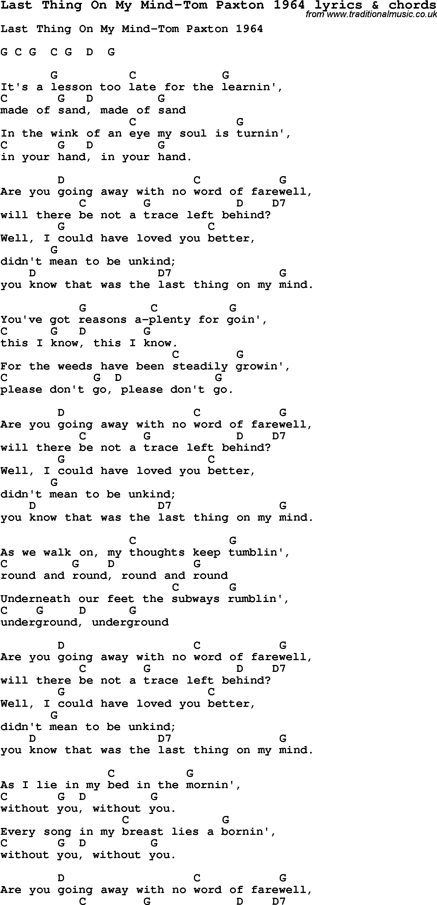 Love Song Lyrics Forlast Thing On My Mind Tom Paxton 1964 With Chords
