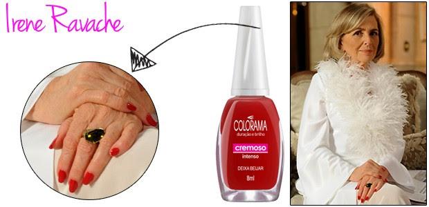 Charlô (Irene Ravache) usa o esmalte vermelho da marca Colorama Deixa Beijar (Foto: TV Globo e Divulgação)