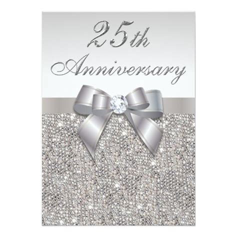 25th Silver Wedding Anniversary Faux Sequins and Bow 5x7