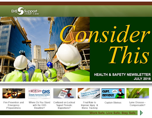 'Consider This' - EHS Support's Health & Safety Newsletter – July 2016 Edition