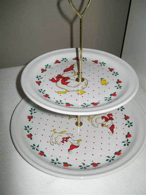 2 tier TID BIT Christmas cake plate stand duck goose red