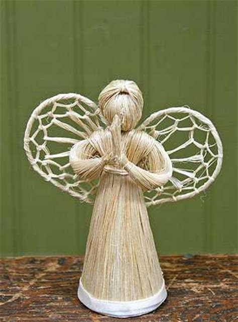 "4"" Abaca Straw Cone Angel Doll   Trees and Toppers"