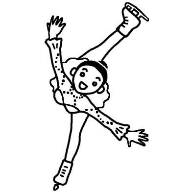 フィギュアスケート1氷のスポーツ人物無料白黒イラスト素材