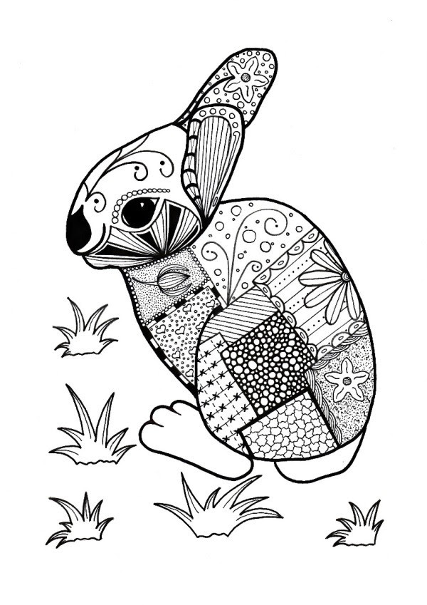 Colorful Rabbit Adult Coloring Page | ThriftyFun