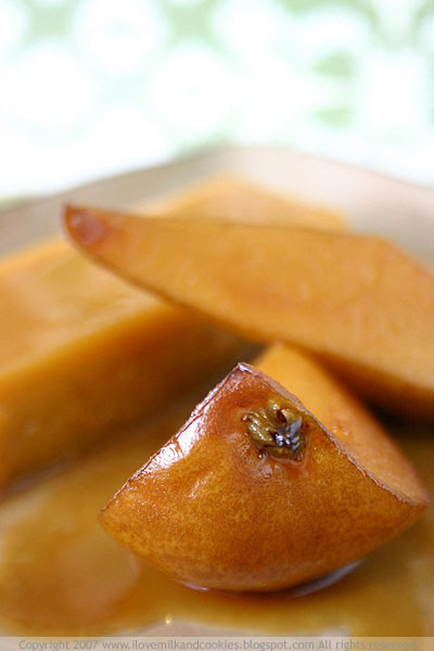 Pears soaked in maple syrup