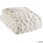 Madison Park Ruched Fur Solid Brushed Long Fur Knitted Throw Ivory Microfiber
