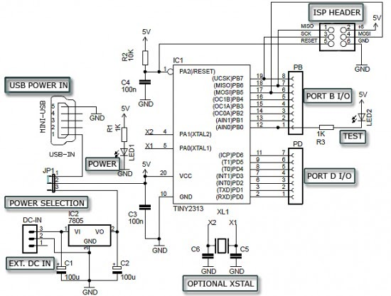 circuit schematic attiny2313 minimum diy development board diagram