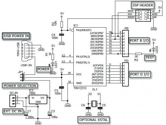 Circuit Schematic ATtiny2313 Minimum DIY Development Board