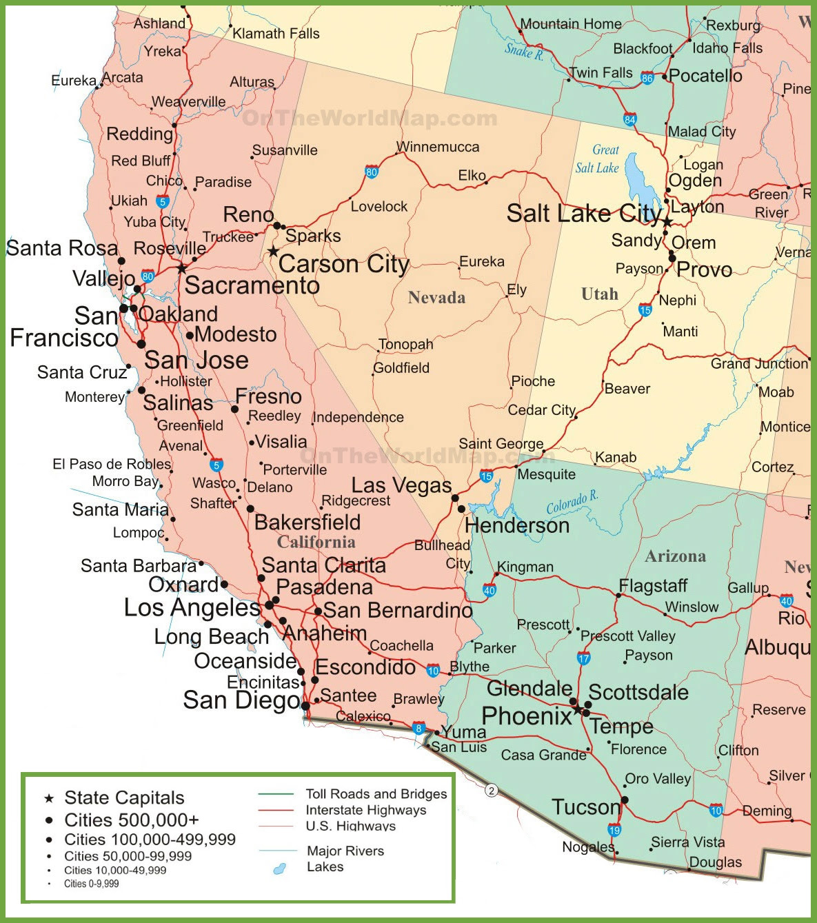 Map Of Arizona California Nevada And Utah