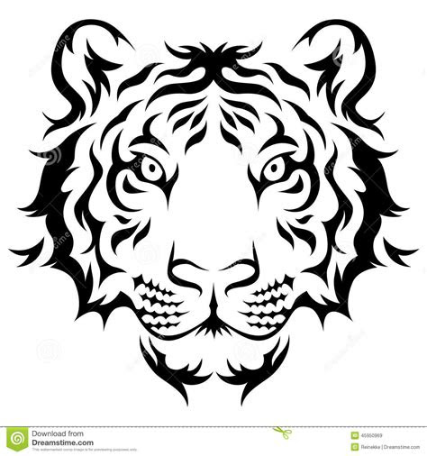 tribal tiger stock vector illustration  striped face