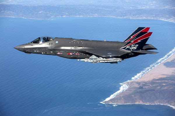 Flying above the Pacific Sea Test Range near California, AF-1 became the first F-35 fighter jet to fire the new AIM-9X Sidewinder missile...on January 12, 2016.