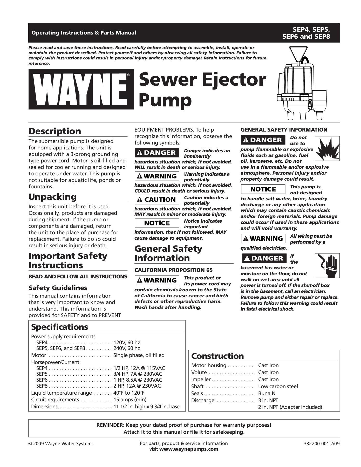 Idea Life Wayne Pump Parts Diagram
