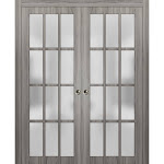 Sliding French Double Pocket Doors Frosted Glass Lites | Felicia 3312 Ginger Ash Gray | Kit Trims Rail Hardware | Solid Wood Interior Bedroom Sturdy