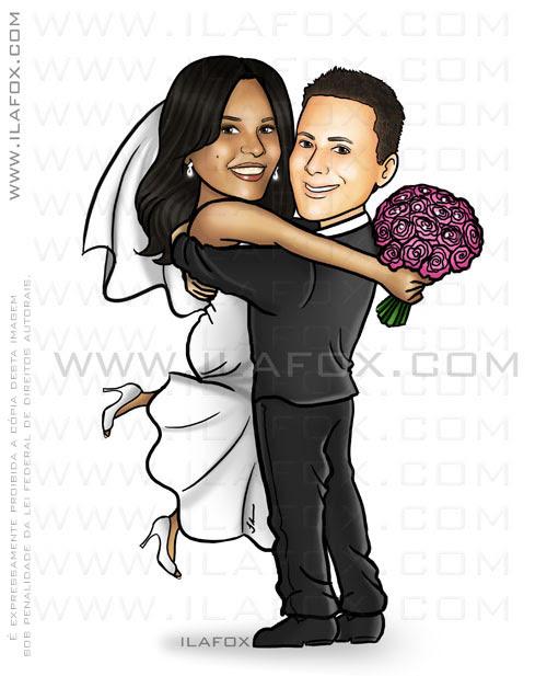 caricatura corpo inteiro, noivos abraçados, noiva morena e noivo branco, caricatura para casamento, by ila fox